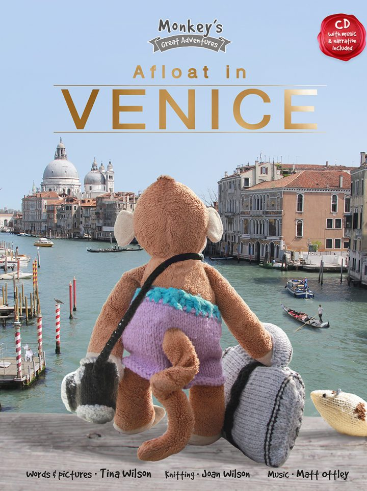 Children's picture book cover for Afloat in Venice